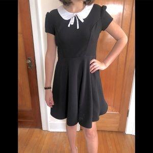 Black Textured White Collar Dress